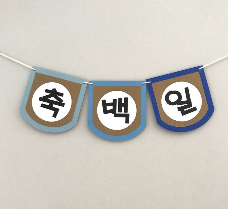 Custom Korean Happy 100 Days Banner 축백일 image 0