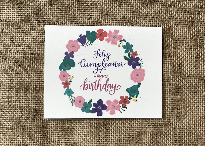 Happy Birthday in Spanish Handlettered and Handdrawn Greeting image 0