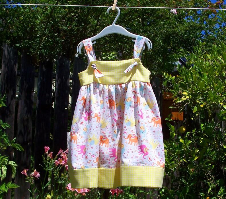 Tie-Strap Sundress for Girls in Elephant /& Gingham size 3T
