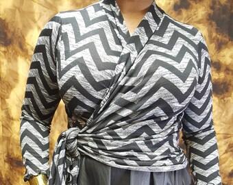 Black and Grey Chevron Print Transitional Wrap Top