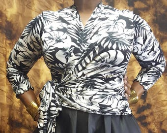 Transitional Wrap Top Black and White