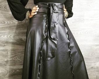 784fda7c83 Millenium Matt Black Faux Maxi Wrap SkirtsHigh Waist fit up to size 14 in  Standard