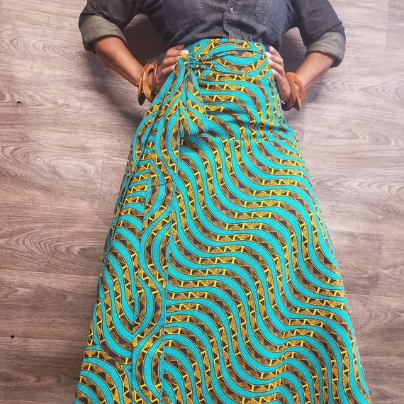 SHOP AFRICAN Wax Print Maxi SKIRTS High Waist Wrap Skirts Standard fits up to size 14