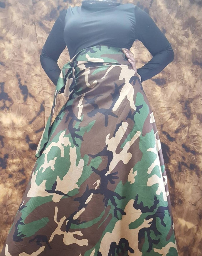 CAMOUFLAGE WRAP SKIRT Maxi High Waist Wrap Skirts fits from Small to Plus  Size all Skirts made to Customer Size and Height