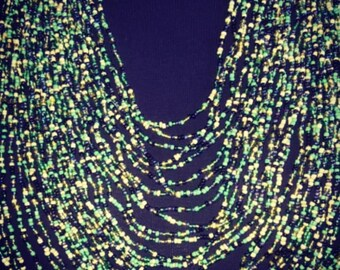 Emerald green Multi  layered  necklace set