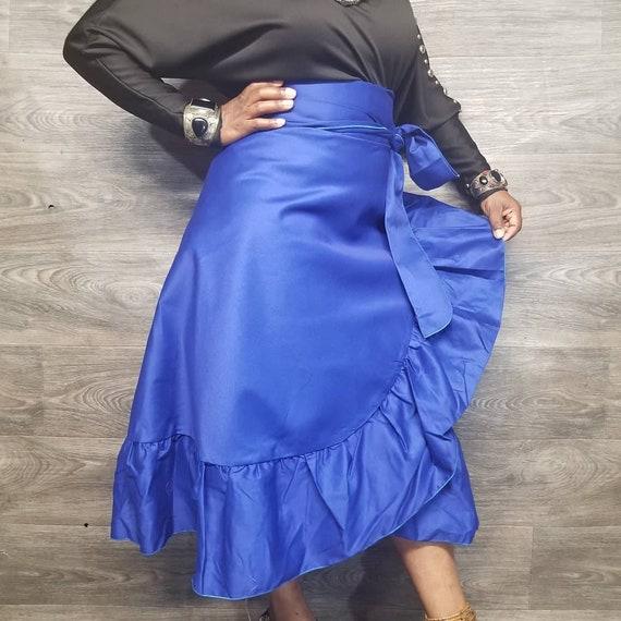 Royal Blue Cotton twill Ruffled midi wrap skirt | Etsy