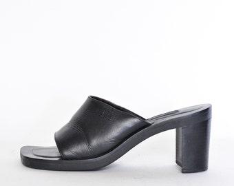 cccdf98f8bd2 TOMMY HILFIGER Slides 7 90s y2k vintage mules black Leather low heel slip  on platform shoes Minimalist mule sandals minimal slide platforms
