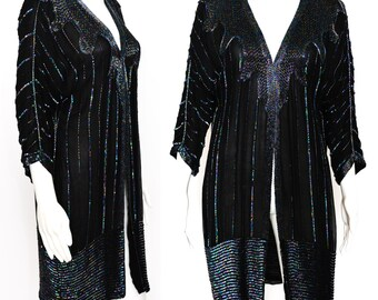 843aa985082 BEADED DUSTER JACKET 90s black silk Vintage chiffon oversized Trophy coat  oil slick Rainbow sequins beads Gothic goth witch Boho M os 80s