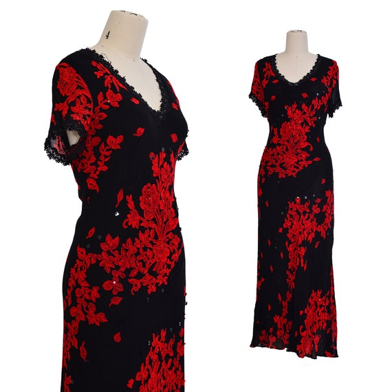 1930s STYLE DRESS l bias cut Rayon black red Rose