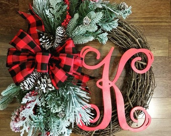 christmas wreaths farmhouse christmas wreath with initial christmas gift holiday decor holiday wreath christmas home decor farmhouse - Christmas Wreaths Etsy