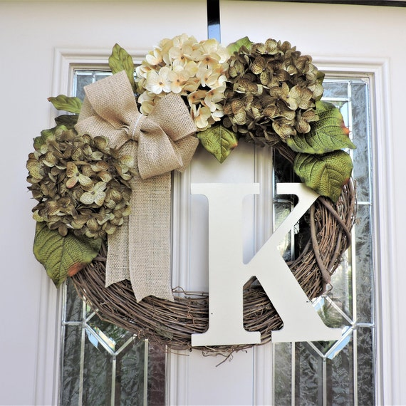 Sage Green And Cream Hydrangea Front Door Wreath With Large Etsy