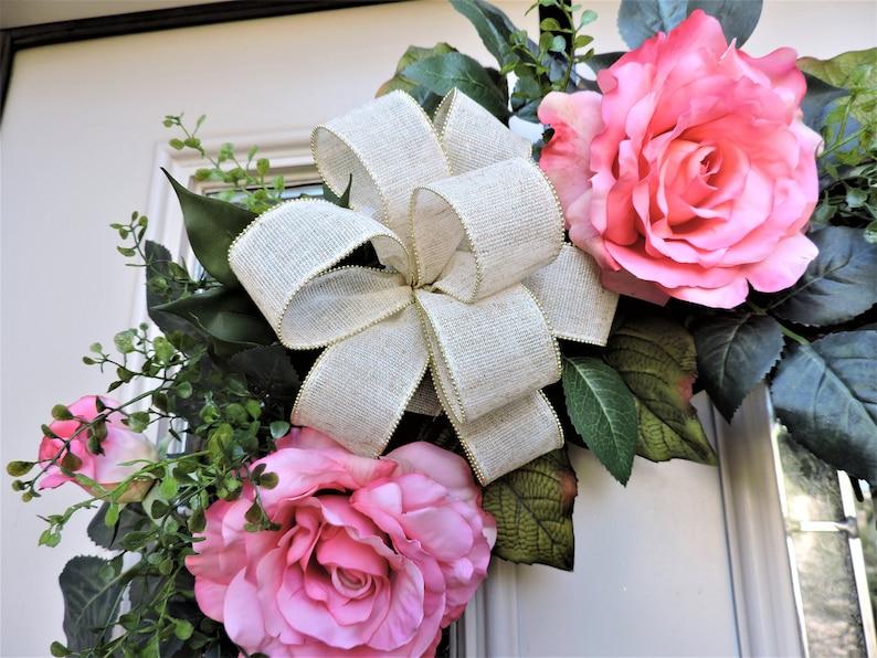Pink Wreath Grapevine Wreath for Door Summer Wreath Wreath with Roses Front Door Wreath With Roses Pink Rose Wreath for Front Door