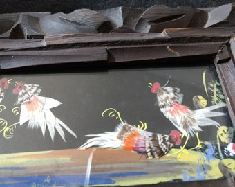 Mexican Feather Art, Hand Carved Wood Frame, Vintage Folk Art, Fighting  Roosters, Hand Painted