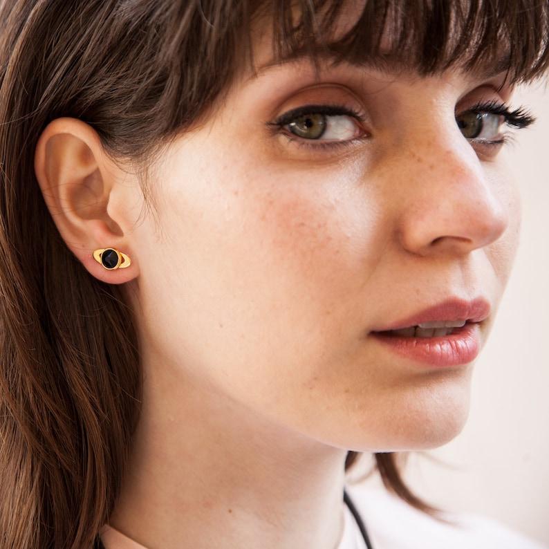 Minimalist Gold Black For Women Tiny Gold Studs Black Gold Studs Gemstone Earrings Oval Earring Minimalist Earrings