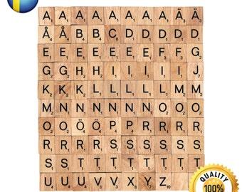 100 Pcs Custom Wooden Scrabble tiles Swedish language letter alphabet for Jewelry handicraft scrapbooking black font Wood Scrabble