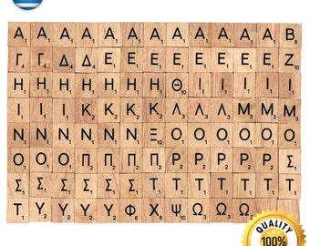 104 Pcs Custom Wooden Scrabble tiles Greek language letter alphabet for Jewelry handicraft scrapbooking black font Wood Scrabble Pendant