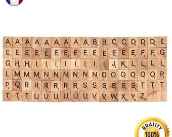 102 Pcs Custom Wooden Scrabble tiles French language letter alphabet for Jewelry handicraft scrapbooking black font Wood Scrabble Pendant