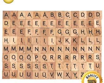 104 Pcs Custom Wooden Scrabble tiles German language letter alphabet for Jewelry handicraft scrapbooking black font Wood Scrabble Pendant