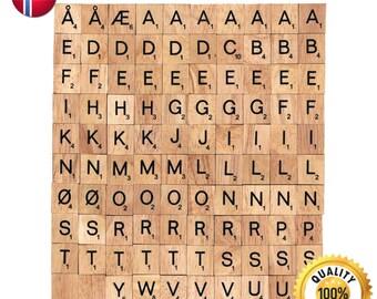 100 Pcs Custom Wooden Scrabble tiles Norwegian language letter alphabet for Jewelry handicraft scrapbooking black font Wood Scrabble Pendant