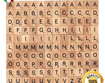 120 Pcs Custom Wooden Scrabble tiles Italian language letter alphabet for Jewelry handicraft scrapbooking black font Wood Scrabble Pendant