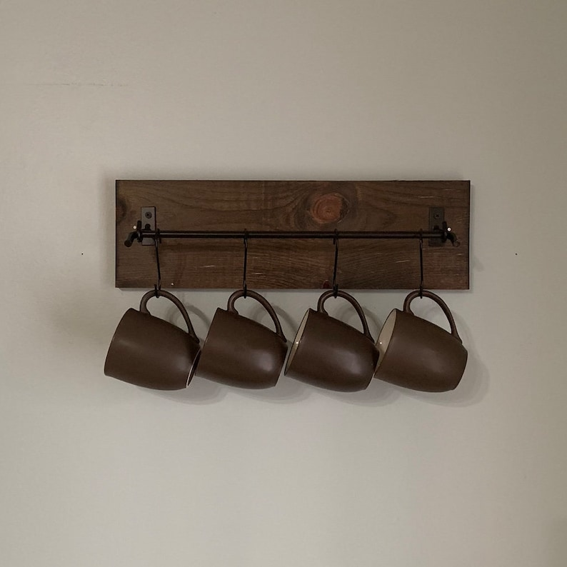Coffee Cup Mug Rack with Metal Bar  Rustic Modern Wood Wall image 0