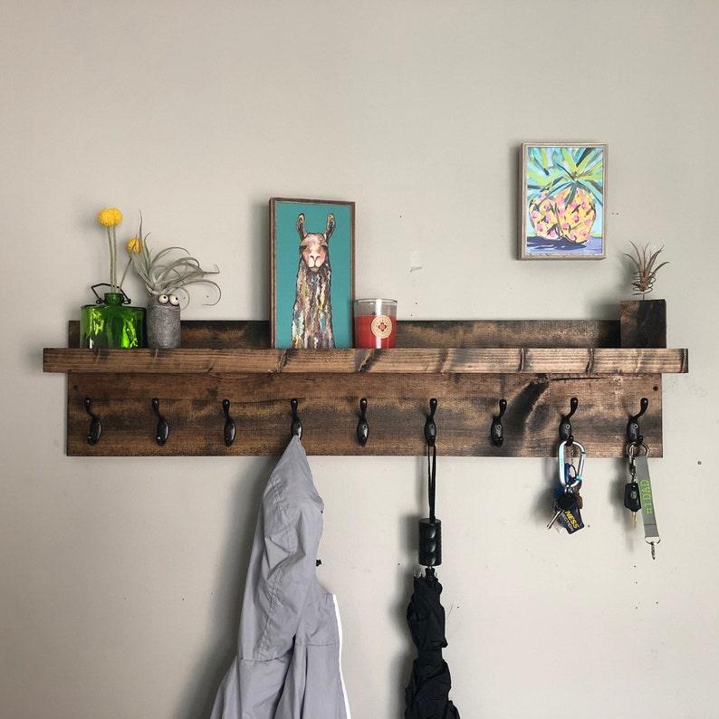 Coat Rack With Shelf Entryway Organizer Towel Rack Key Hooks Etsy