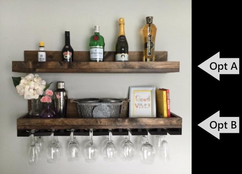 36 LONG Rustic Wood Wine Rack  Wall Mounted Shelf & image 0