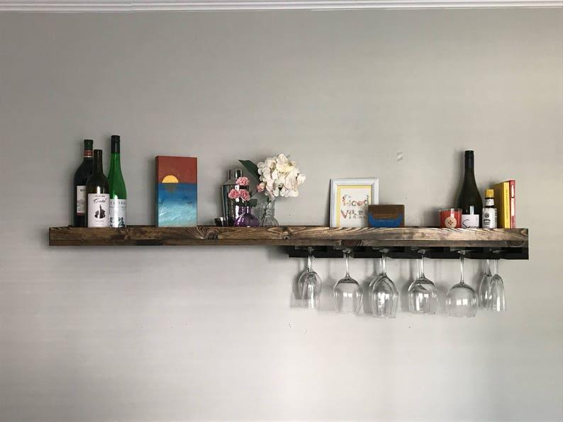 Asymmetrical Long Rustic Wood Wine Rack Shelf & Coffee Bar  image 0