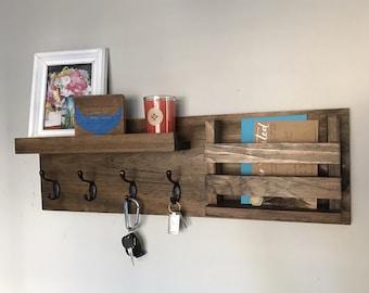 Entryway Mail Organizer | Key Hooks Coat Rack Catch All Leash Holder Rustic Modern Unique