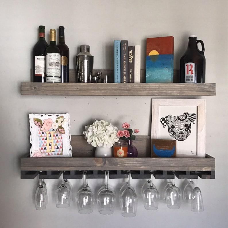 Admirable 36 Long Rustic Wood Wine Rack Wall Mounted Shelf Hanging Stemware Glass Holder Organizer Bar Shelf Floating Ledge Unique Grey Home Interior And Landscaping Oversignezvosmurscom