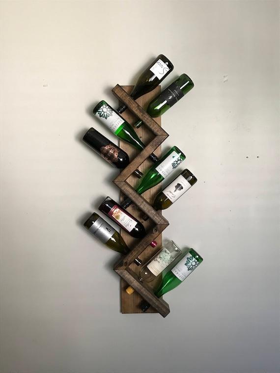 Zig Zag Wine Rack Z Geometric Wall Mounted Rustic Wood Wine Etsy