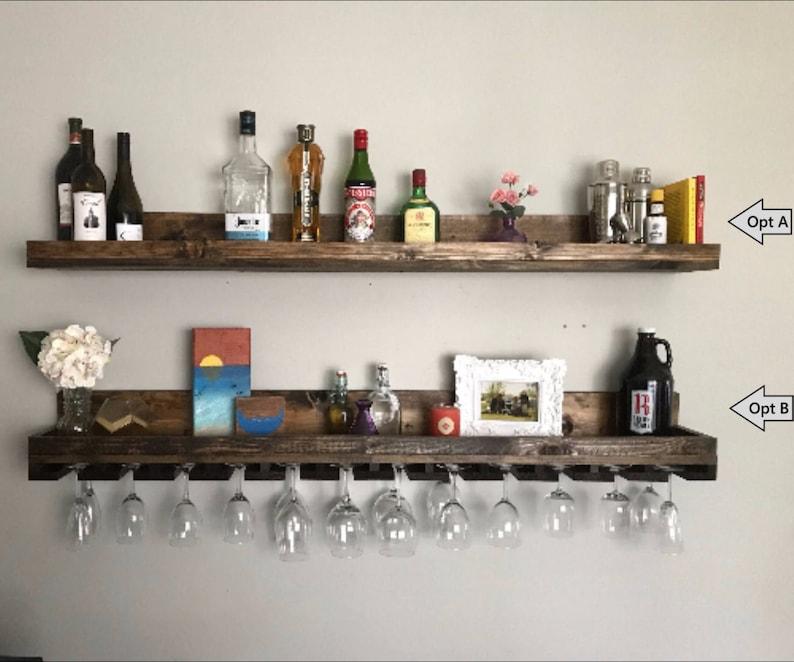 Incredible 60 Long Rustic Wood Wine Rack Wall Mounted Shelf Hanging Stemware Glass Holder Organizer Bar Shelf Unique Home Interior And Landscaping Oversignezvosmurscom