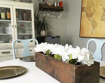 Rustic Wood Box Centerpiece Planter Mason Jar Caddy Tray Vase Cornucopia Table