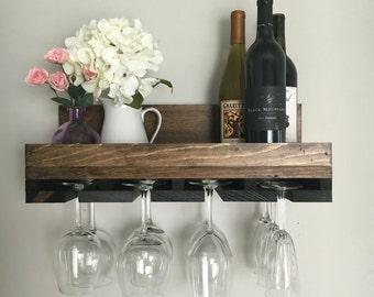 "20"" Rustic Wood Wine Rack | Shelf & Stemware Glass Holder Organizer Unique"