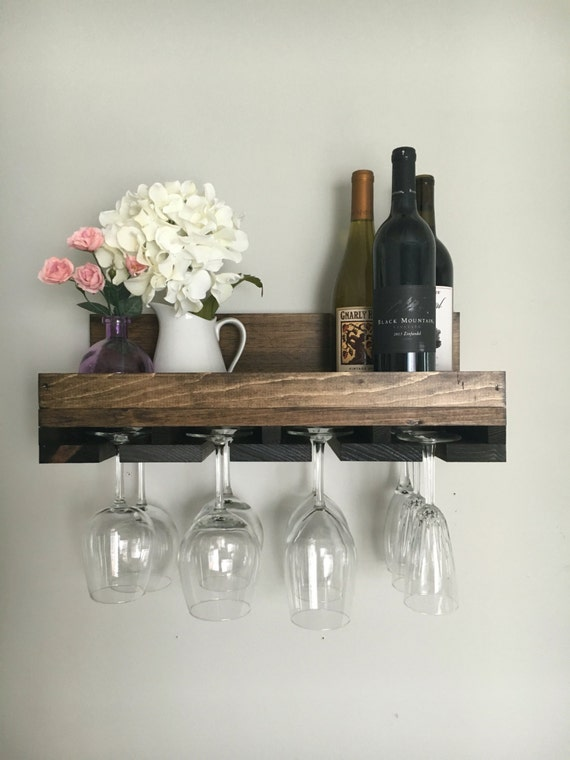 20 Rustic Wood Wine Rack Wall Mounted Shelf Stemware Etsy