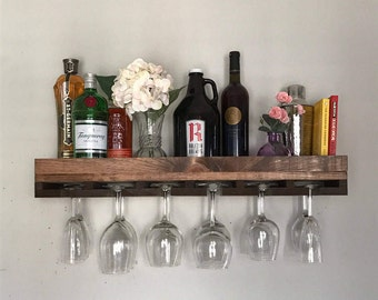 """30"""" FLOATING (low back) Rustic Wood Wine Rack 