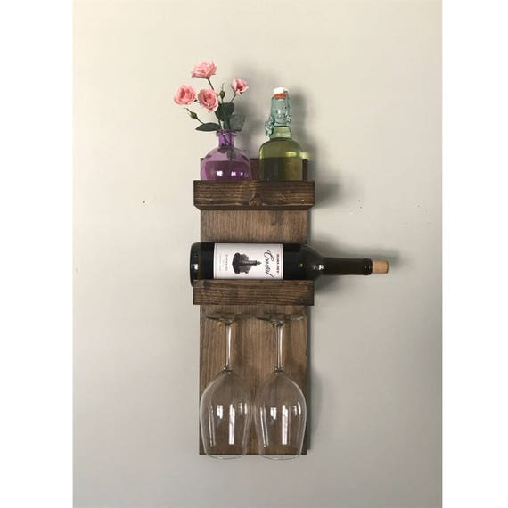 Rustic Modern Wine Rack For Small Spaces 2 Bottle 2 Glass Etsy