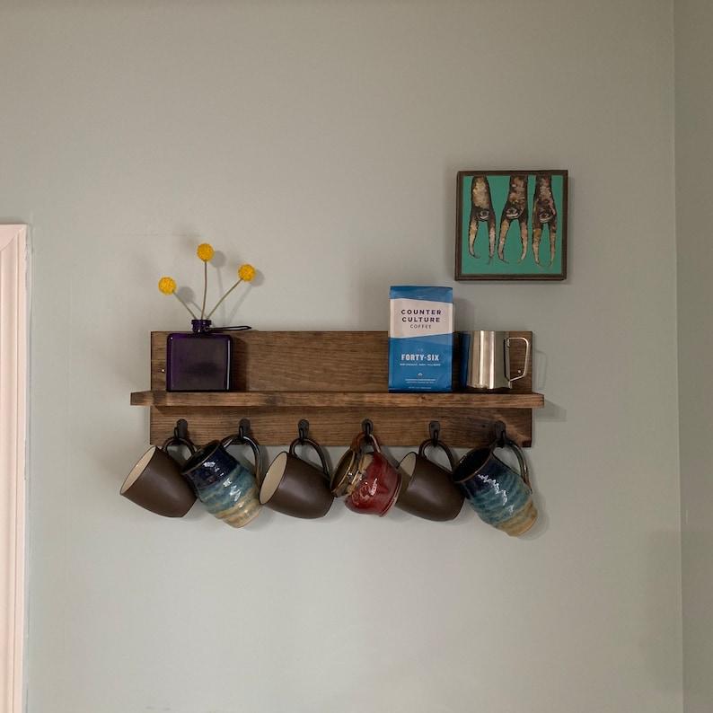 Coffee Cup Mug Rack with Shelf  The CHS  Rustic Modern Wood image 0