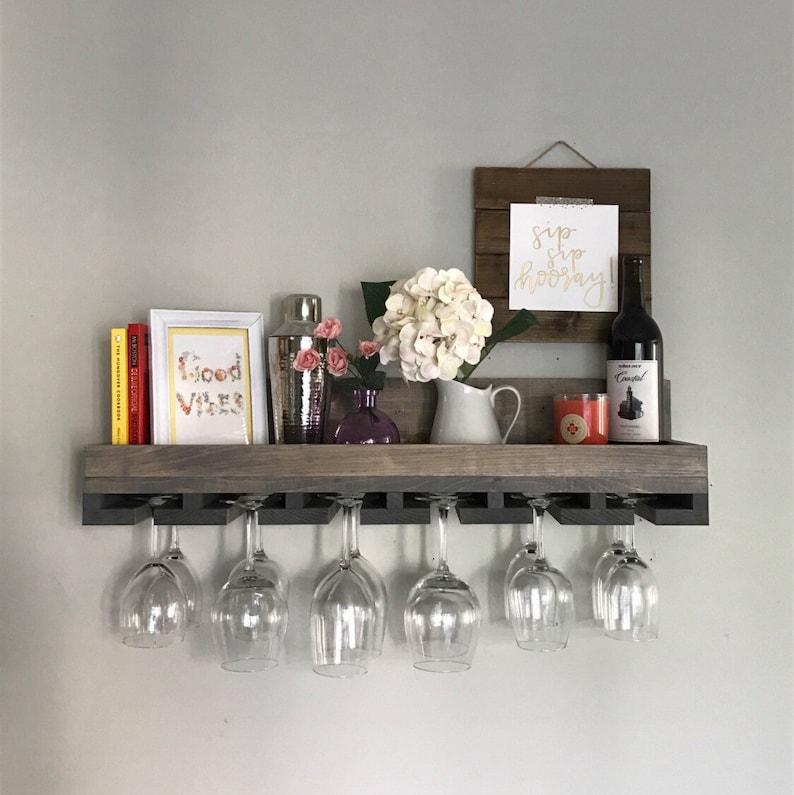 Wood Wine Rack Shelves  The Ryan  Wall Mounted Shelf & image 0