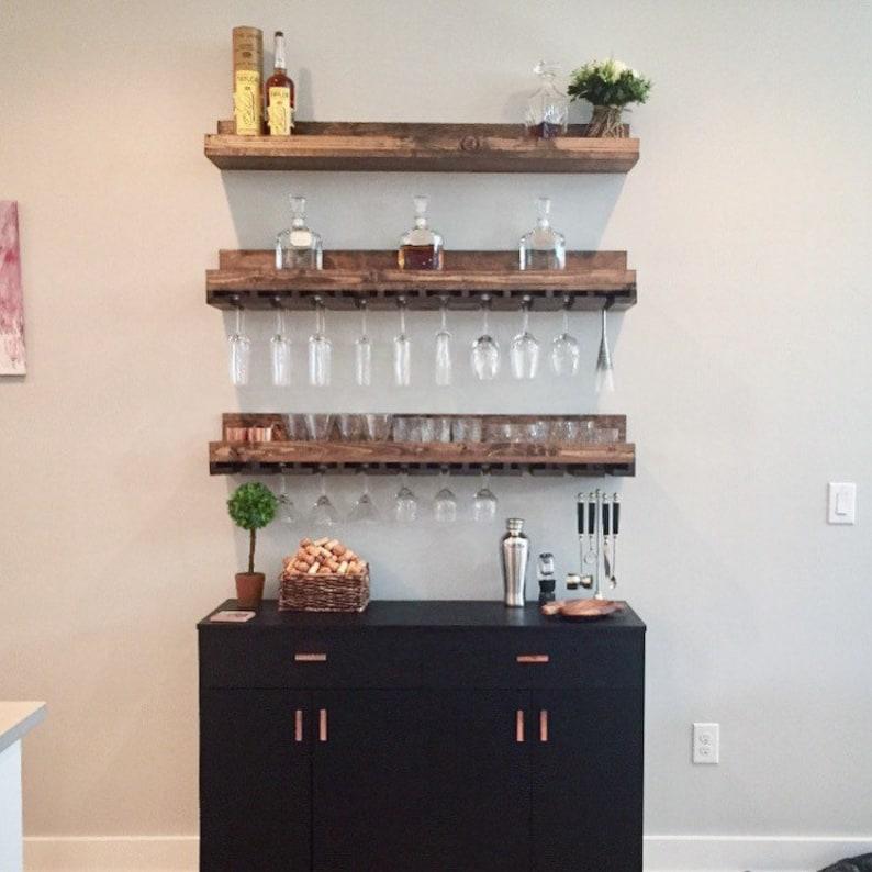 Wood Wine Rack Wall Mounted Shelf & Hanging Stemware Glass A+B+B Set (pic 1)