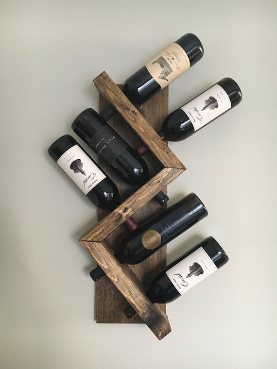 Zig Zag Wine Rack Z Geometric Rustic Wood Wall Mounted Wine Etsy