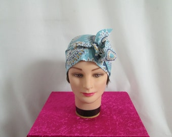 Foulard, turban chimio, bandeau pirate au féminin bleu, blanc et ocre motif mandala