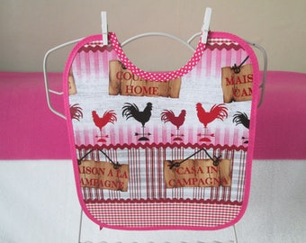 Oilcloth chicken and Rooster pattern baby bib