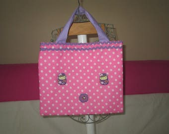 Tablet case pink with white polka dots