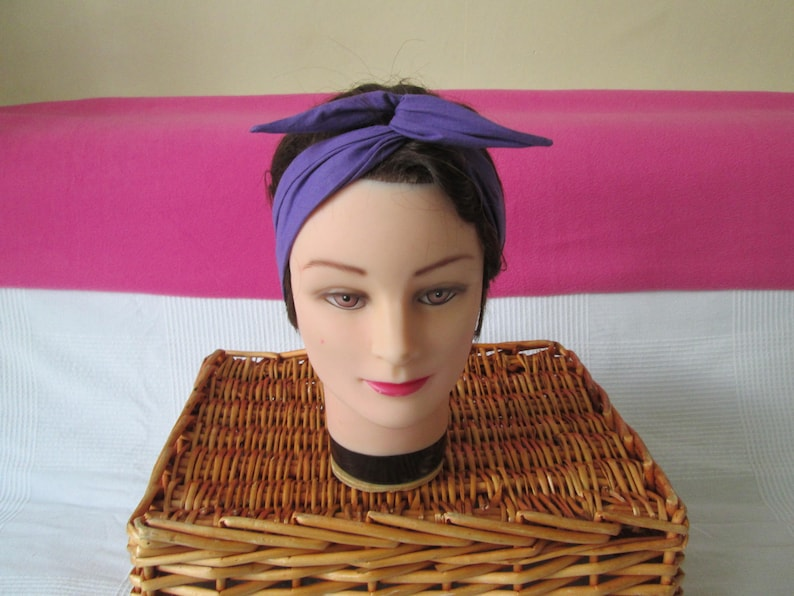 Rigid tie chic headband purple plain