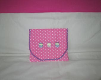 Pink polka dots with 3 OWL Tablet case