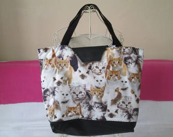 Chic tote bag style fashion faux leather and fabric cats