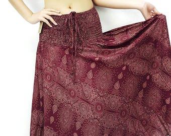 83345cbe6 Women Dress Skirt Thai Dress Midi Dress Gypsy Dress Rayon Dress Hippie Dress  Beach Dress Boho Dress Boho Skirt Paisley Skirt Red (DS83)