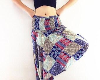 FCH2 Women /& Men Harem Pants Thai Cotton Pants Yoga Pants Drop Crotch Aladdin Pants Maxi Pants Boho Pants Gypsy Pants Roomy Pants Black