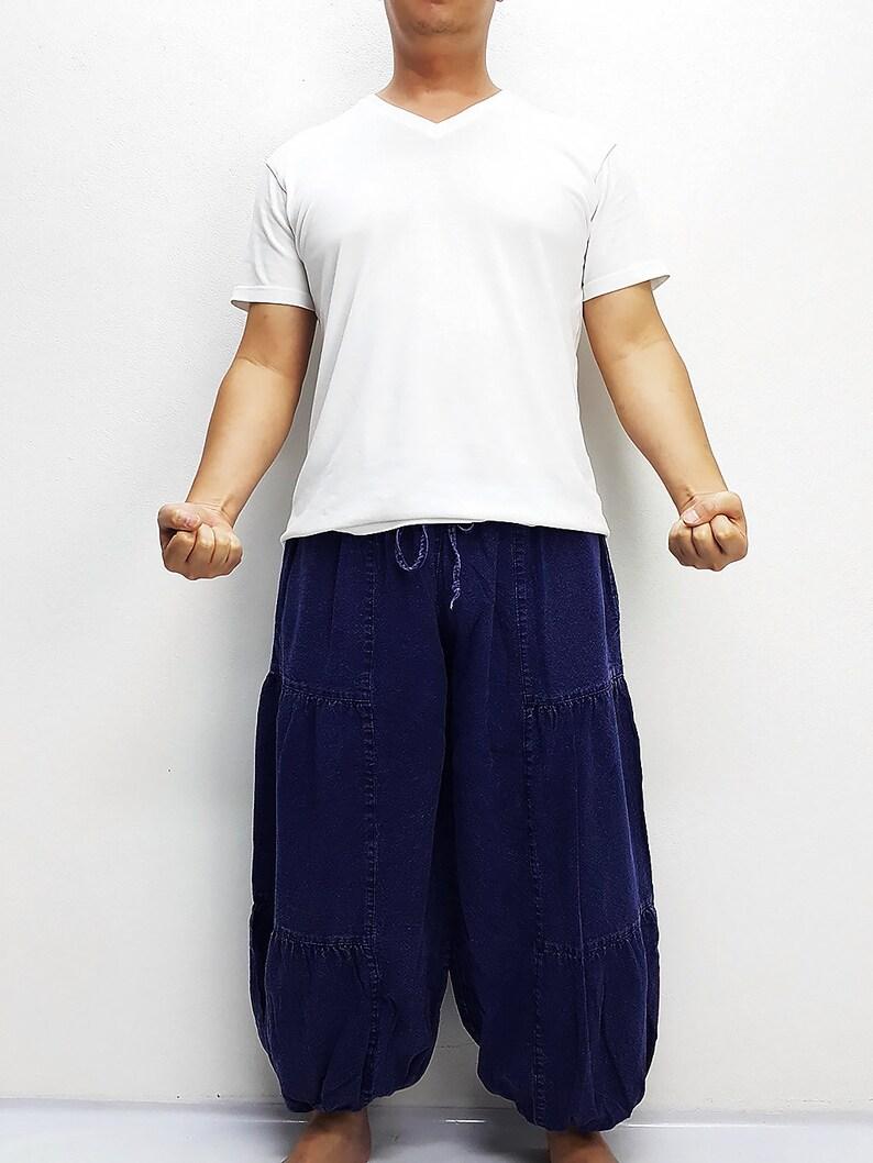 Blue Harem Pants Bleached Cotton Pants Unisex Pants Aladdin Pants Maxi Pants Baggy Pants Gypsy Pants Trouser Cotton Pants Boho Pants LCT7